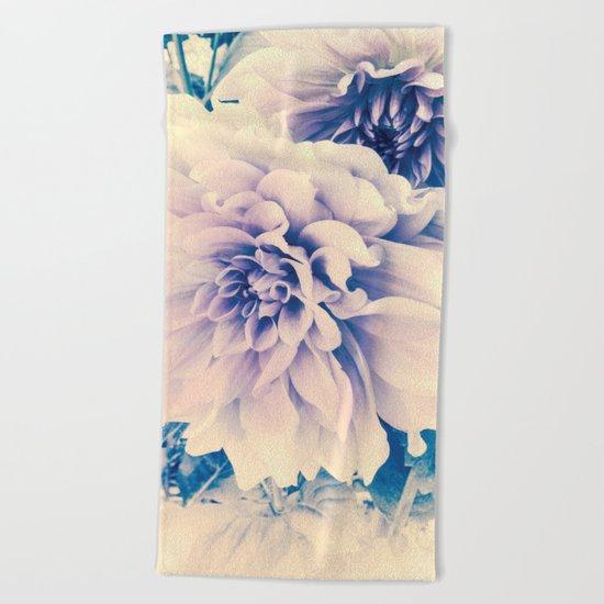 Delicate Beauty (Vintage Blue Lavender Dahlias) Beach Towel