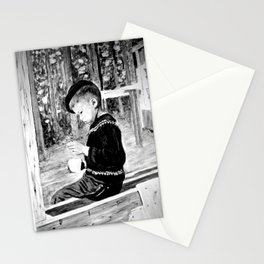 Little Boy With Coffee Cup Stationery Cards