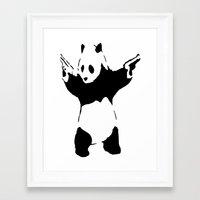 banksy Framed Art Prints featuring Banksy Panda1 by vie3
