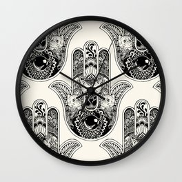 Hamsa Hand Persian Cat Wall Clock