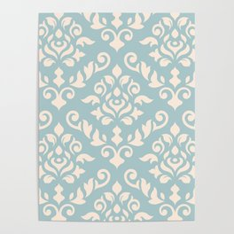 Damask Baroque Pattern Cream on Blue Poster