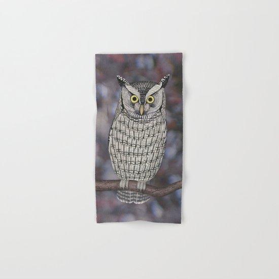 eastern screech owl on a branch Hand & Bath Towel