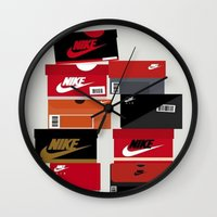 sneaker Wall Clocks featuring SNEAKER HEAD RED by RickART