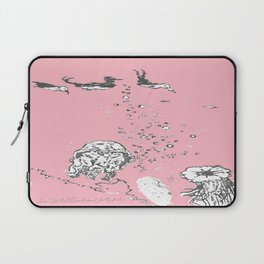 Two Tailed Duck and Jellyfish Baby Pink Deep Laptop Sleeve