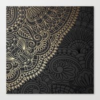 black and gold Canvas Prints featuring black & gold by Pink Berry Patterns