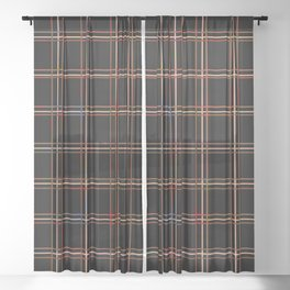 ARREST multi colour lines plaid pattern on black Sheer Curtain