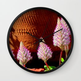 A Flurry Of Furry Flowers Wall Clock
