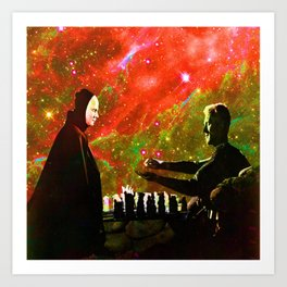 Playing chess with Death Art Print