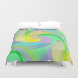 Soft Rainbow Abstract - Painterly Duvet Cover