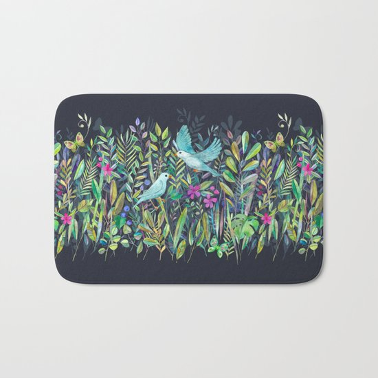 Little Garden Birds in Watercolor Bath Mat