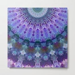 Lavender Scraps Kaleidoscope Half Metal Print