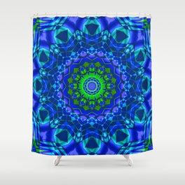 green blue kaleidoscope Shower Curtain