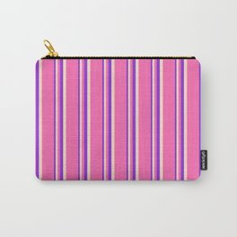 Purple, Bisque, and Hot Pink Colored Stripes Pattern Carry-All Pouch