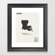 Louisiana Map Framed Art Print