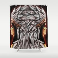 native Shower Curtains featuring Native by PanDuhVka