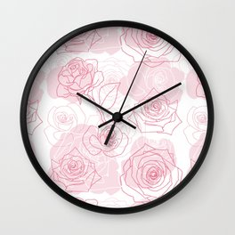 Beautiful Rose Flower Pattern Art Wall Clock