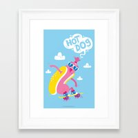 hot dog Framed Art Prints featuring Hot Dog! by Tratinchica