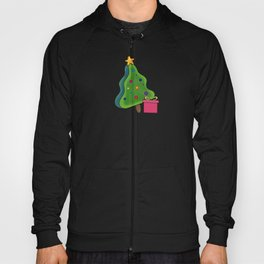 Christmas tree on red background for New Year holiday decoration. stalemate Hoody