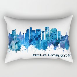 Belo Horizonte Brazil Skyline Blue Rectangular Pillow