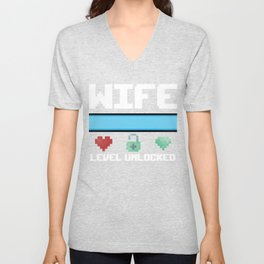 New Wife Gift Level Unlocked a New Fiancee Bride Gamer Unisex V-Neck