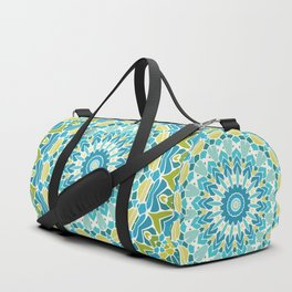 Lime Green and Turquoise Blue Mandala Duffle Bag