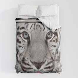 White Tiger with a little tougue Duvet Cover