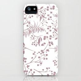 Mauve pink white elegant modern floral iPhone Case