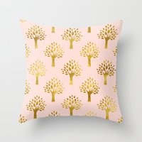 gold foil Throw Pillows featuring Pink Gold Foil 02 by Aloke Design