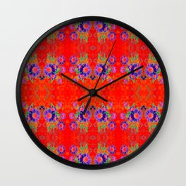 Summer Floral Red Wall Clock