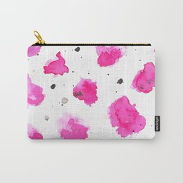 modern abstract pink black watercolor brushstrokes pattern Carry-All Pouch