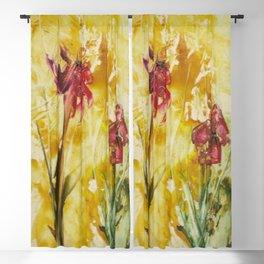 Abstract Red Poppies From Original Encaustic Art Blackout Curtain