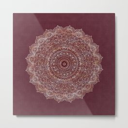 Rose Gold Marble Mandala Burgundy Textured Metal Print