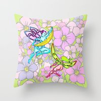 pixies Throw Pillows featuring Pixies by Knot Your World