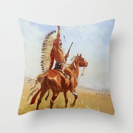 """""""Defiance"""" Western Art by Frederick Remington Throw Pillow"""