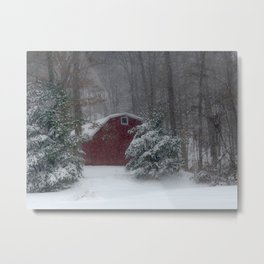 Red Barn in the Snow 2013 Metal Print