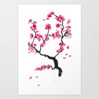 cherry blossoms Art Prints featuring Cherry Blossoms by Amaya