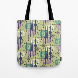 Retro Atomic Mid Century Pattern Blue Green Purple and Turquoise Tote Bag