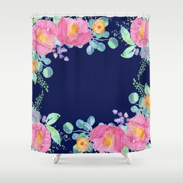 pink peonies with navy background Shower Curtain
