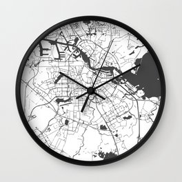 Amsterdam White on Gray Street Map Wall Clock