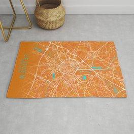 Leuven, Belgium, Gold, Blue, City, Map Rug