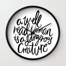 Well Read Woman - Black Lettering Wall Clock