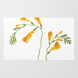 orange freesia watercolor Rug