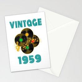 Vintage Vinyl Music 1959 60th Birthday Gift Idea print Stationery Cards