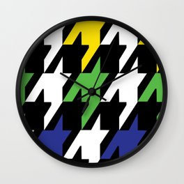 Jumbo Scale Masculine Colored Houndstooth Pattern Wall Clock
