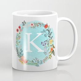 Personalized Monogram Initial Letter K Blue Watercolor Flower Wreath Artwork Coffee Mug