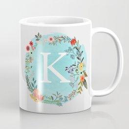 Personalized Monogram Initial Letter K Blue Watercolor Flower Wreath Artwork Coffee Mug