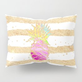 Modern pink watercolor pineapple faux gold glitter stripes Pillow Sham