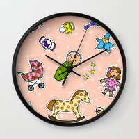 stickers Wall Clocks featuring For Mommy stickers by Lisidza's art