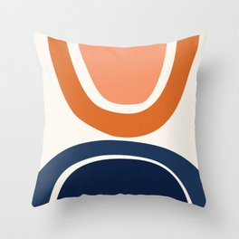 Abstract Shapes 7 in Burnt Orange and Navy Blue Throw Pillow