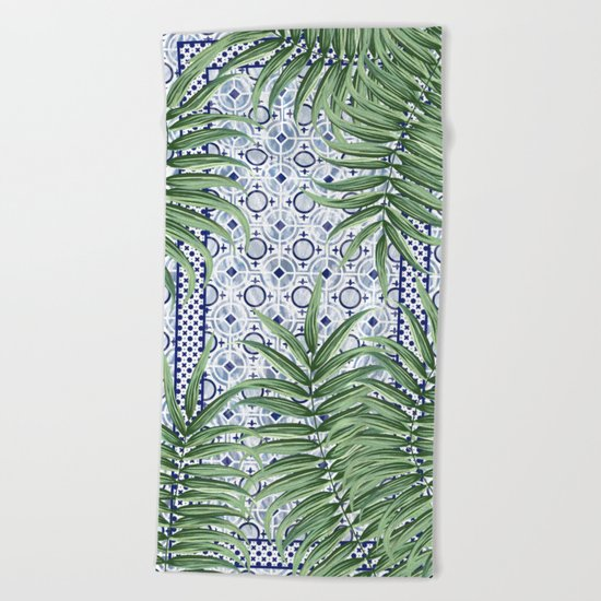 Moroccan tiles and palm leaves Beach Towel